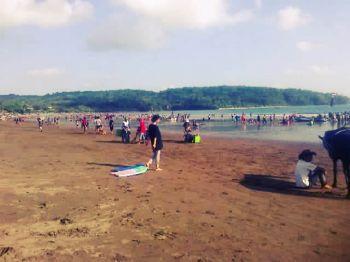 Saat Pantai Pangandaran Surut
